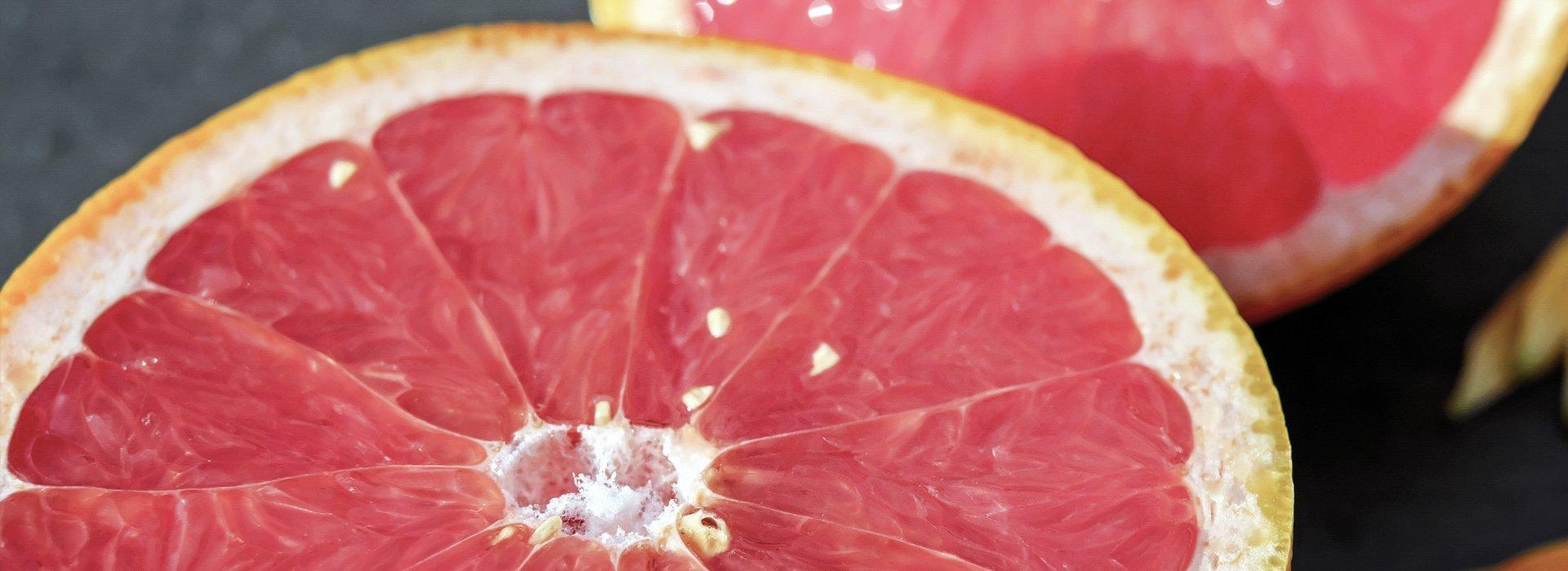Photo of a pink grapefruit