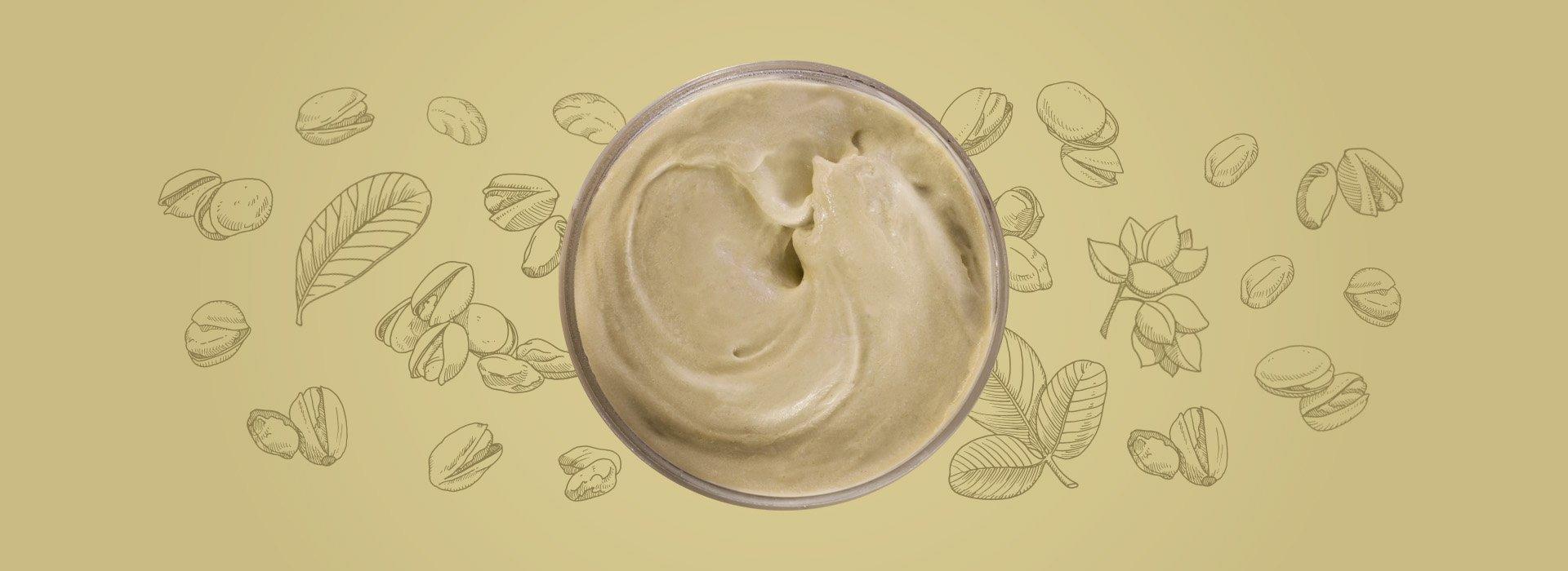 Cup of pistachio ice cream